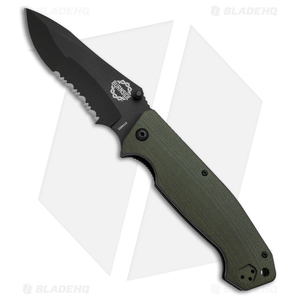 """Burnside Knives Cabrillo Liner Lock Knife OD Green G-10 (4"""" Black Serr)"""