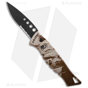 "Piranha Amazon Automatic Knife Desert Camo Tactical (3.45"" Black Serr)"