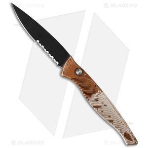 "Piranha DNA Automatic Knife Desert Camo Tactical (3.25"" Black Serr)"