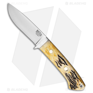 """Bark River Classic Drop Point Knife Fixed Blade Stag Horn (3.75"""" Elmax)"""