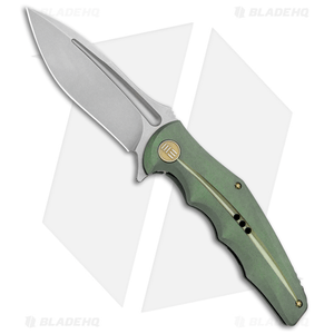 "WE Knife Co. 608M Frame Lock Knife Green Titanium (4"" Stonewash)"