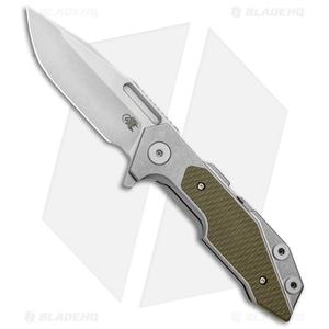 "Hinderer Knives Full Track Spanto Knife OD Green G-10/Ti (3.75"" Stonewash)"