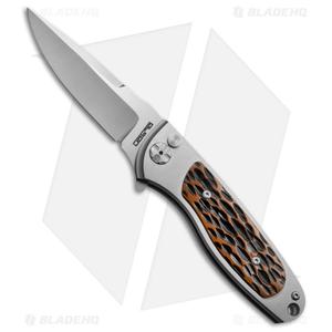 "Rod Olson Custom M9 Titanium Button Lock Flipper Knife Jigged Bone (3"" Satin)"