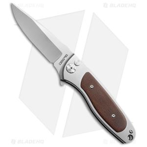 "Rod Olson Custom M9 Titanium Button Lock Flipper Knife Brown Micarta (3"" Satin)"