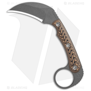 "RMJ Tactical Korbin Karambit Fixed Blade Hyena Brown G-10 (3"" Gray)"