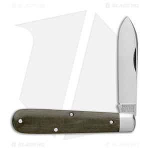 """GEC #15 Tidioute Huckleberry Boy's Knife 3.375"""" OD Green Linen Micarta 152118"""