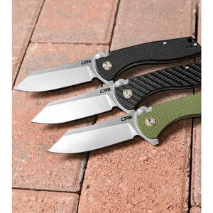 """CJRB Kicker Recoil-Lock Knife Carbon Fiber (3.5"""" Stonewash) J1915-CF"""