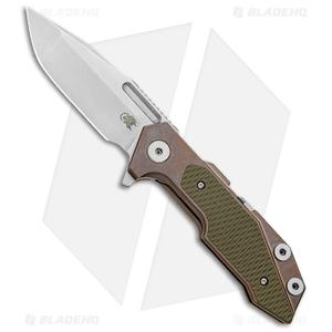 "Hinderer Knives Full Track Spanto Knife OD Green G-10/Bronze Ti (3.75"" SW)"