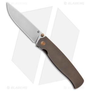 "Cheburkov Knives Strizh S Liner Lock Knife Bronze Titanium (3.375"" Bead Blast)"