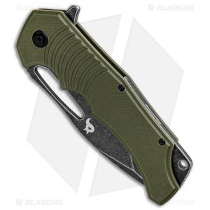 """BlackFox Hugin Flipper Knife Green G-10 (4"""" Black Stonewash)"""
