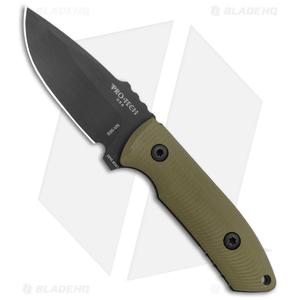 "Pro-Tech George SBR Fixed Blade Knife Green G-10 (2.9"" Black) Leather Sheath"