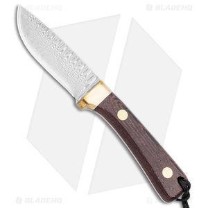 """Svord Damascus Drop Point Fixed Blade Knife Wood Handle (3.5"""" Damascus)"""
