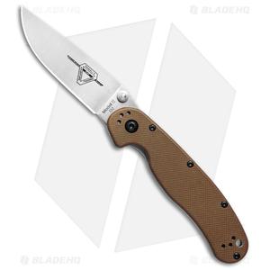 """Ontario RAT Model 2 Liner Lock Knife Coyote Brown (3"""" Satin D2) 8828CB"""