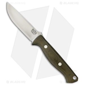 "Bark River Gunny Bravo Fixed Blade Knife Green Canvas Micarta (3.78"" CPM-3V)"