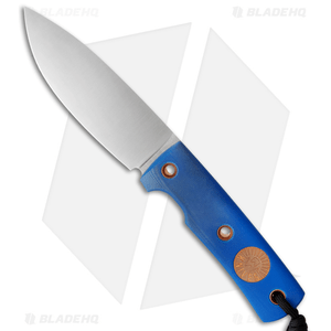 """Wallace Edged Tools OS II Fixed Blade Knife Blue G-10 (4.5"""" Satin)"""