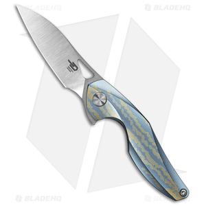 "Bestech Knives Isham Reticulan Frame Lock Knife Blue/Gold Ti (2"" Satin)"