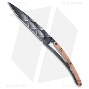 Deejo 37g Art Déco Tattoo Ultra-Light Frame Lock Knife Juniper (3.75 Black)