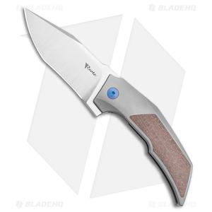 "Reate Bharucha T3000 Frame Lock Brown Micarta/Ti Blue Screws (3"" Satin)"