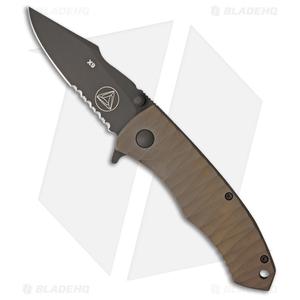"Combative Edge X9 Frame Lock Knife Scalloped Bronze Titanium (3.25"" Black Serr)"