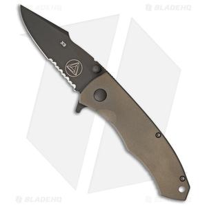 "Combative Edge X9 Frame Lock Knife Bronze Titanium (3.25"" Black Serr)"