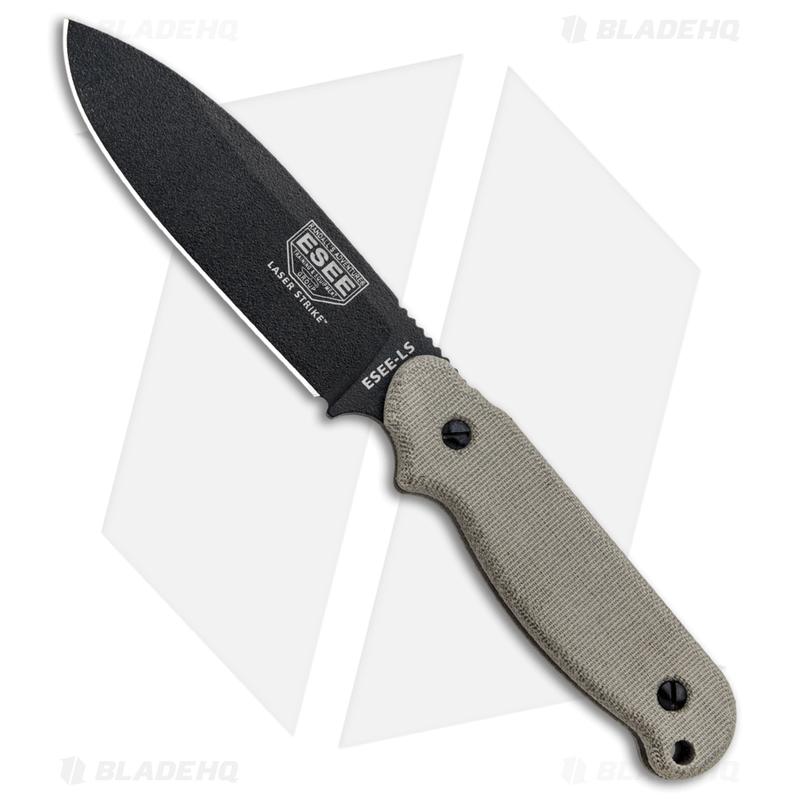 ESEE-Laser-Strike-Knife-Fixed-Survival-Blade-w--Fire-Starter--5--Black--LS-P