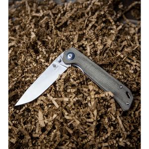 "Kizer Azo Vanguard Series Begleiter Knife Green  Micarta (3.5"" Stonewash BD1N)"