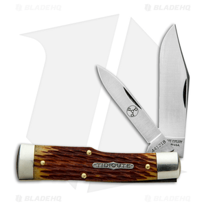"GEC #44 Tidoute Gunstock Buffalo Jack Pocket Knife 3.375"" Goldenrod Jigged Bone"