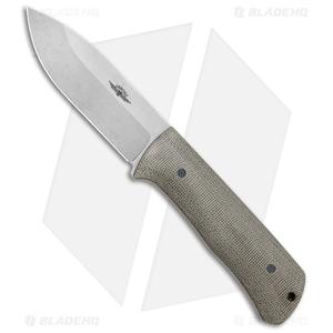 "Jarosz Woodsman Fixed Blade Knife Green Micarta (3.75"" Stonewash AEB-L)"