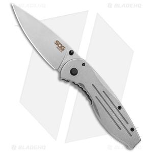 "SOG Aegis Frame Lock Knife Stainless Steel (3.4"" Stonewash)"