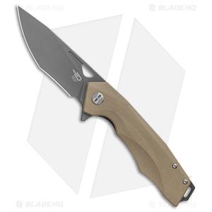 """Bestech Knives Toucan Liner Lock Knife Tan G-10 (3.5"""" Gray) BG14C-2"""