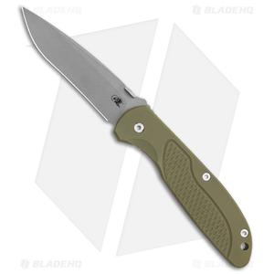 """Hinderer Knives Firetac Recurve Frame Lock Knife OD Green/Bronze  (3.6"""" Working)"""