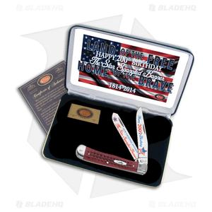 "Case Star Spangled Banner Trapper Knife 4.125"" Red Jigged Bone (6254SS)"