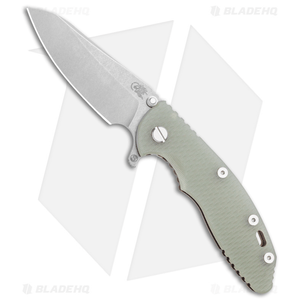 """Hinderer Knives XM-18 3.5"""" Skinny Sheepsfoot Flipper Knife Tran Green Bttl Brnz"""