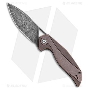 "CIVIVI Isham Anthropos Flipper Black Stonewashed Copper (3.25"" Black Damascus)"