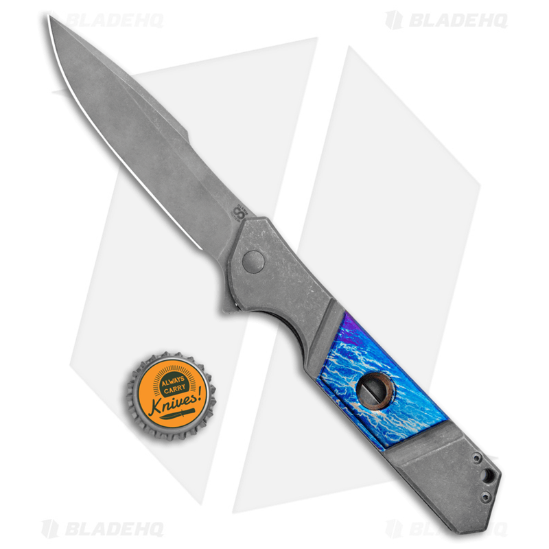 Olamic-Cutlery-Rainmaker-Harpoon-Flipper-Knife-Entropic-Blue-Ti--4.25--Dark-SW-