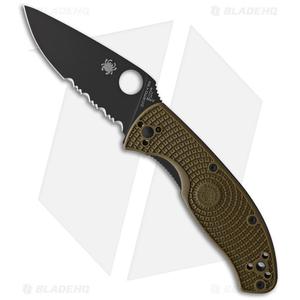 "Spyderco Tenacious Lightweight Folding Knife OD Green FRN (3.4"" Black Serr)"