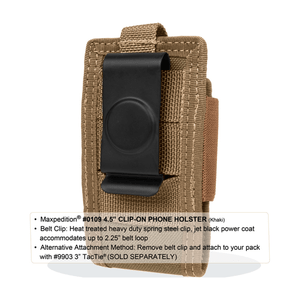 """Maxpedition 4.5"""" Clip-On Phone Holster Khaki Pouch 0109K"""