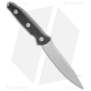 "Microtech Socom Alpha Fixed Blade Knife Black G-10 (5"" Stonewash Serr)"