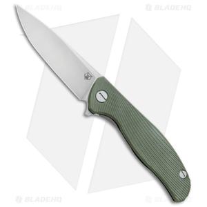 """Shirogorov Hati Frame Lock Knife Olive Green G-10 (3.7"""" Stonewash)"""