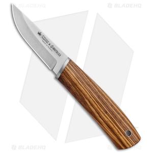 """Kizlyar Supreme Samoyed Fixed Blade Knife Zebra Wood (3.5"""" Stonewash)"""