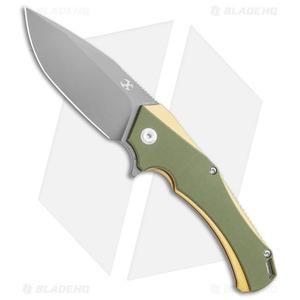 """Kansept Knives Hellx OD Green G-10 Liner Lock Knife (3.62"""" Gray D2)"""