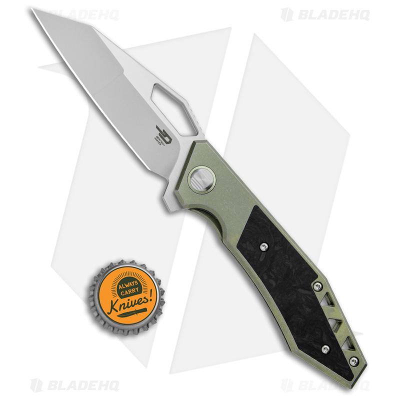 Bestech-Knives-Fractal-Frame-Lock-Flipper-Knife-Green-Ti--3.46--Satin--BT1907B