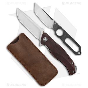 """TuyaKnife Envy 3 Liner Lock Knife + Boot Knife Crosscut Red CF (3.25"""" Satin)"""