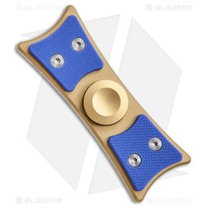 Bastion Large EDC Spinner Fidget Toy - Gold Titanium/Blue G-10
