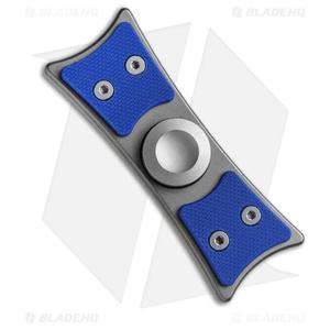 Bastion Large EDC Spinner Fidget Toy - Silver Titanium/Blue G-10