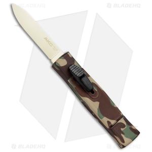 """AKC Minion Concord OTF Automatic Knife Green Camo (2.3"""" Gold)"""