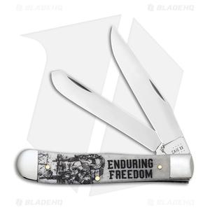 Case Knives Enduring Freedom Trapper Embellished Smooth Natural Bone - 50955