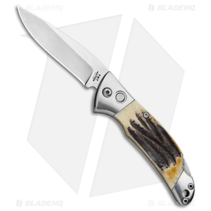 "Bear and Son Automatic Lockback Knife  India Stag   (2.75"" Satin)"