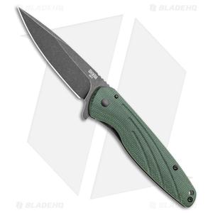 "Ontario Knife Company Shikra Frame Lock Knife Green Micarta (3.25"" Black SW)"
