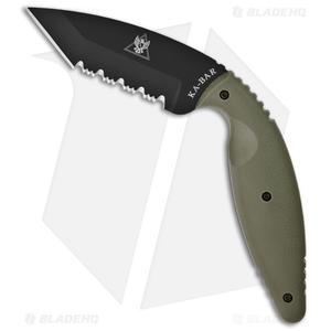 "Ka-Bar Large TDI Law Enforcement Tanto Fixed Blade Knife (3.7"" Serr) 1485FG"